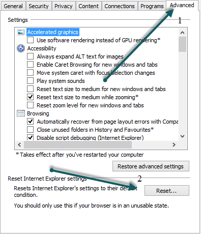 reset internet explorer 1