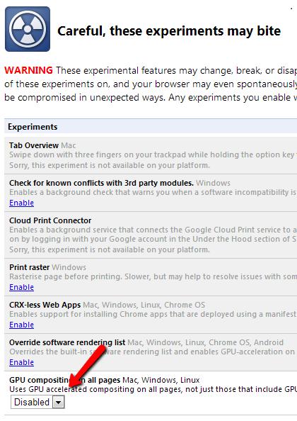 Désactiver l'accélération matérielle dans Chrome