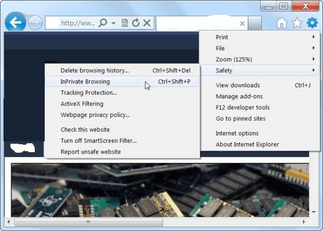 Fenêtre privée Internet explorer