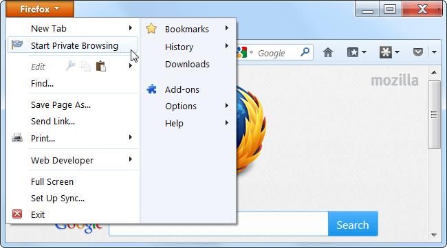 Fenêtre privée dans Mozilla