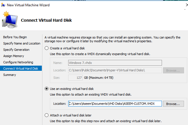 Connecter un disque dur virtuelle
