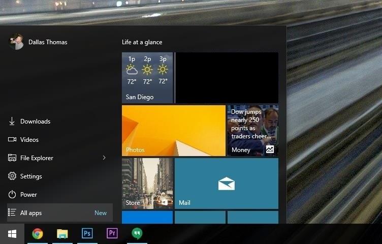 Menu démarrage Windows 10