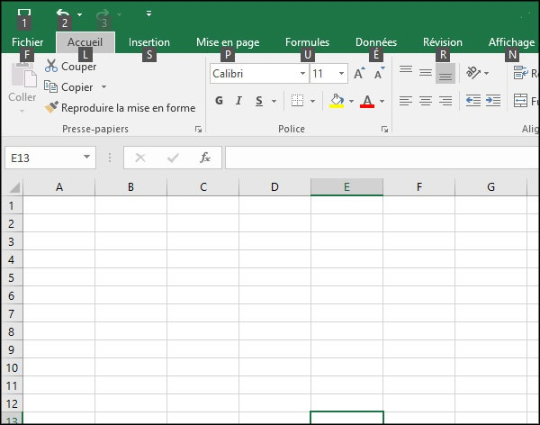 Les raccourcis clavier dans Excel