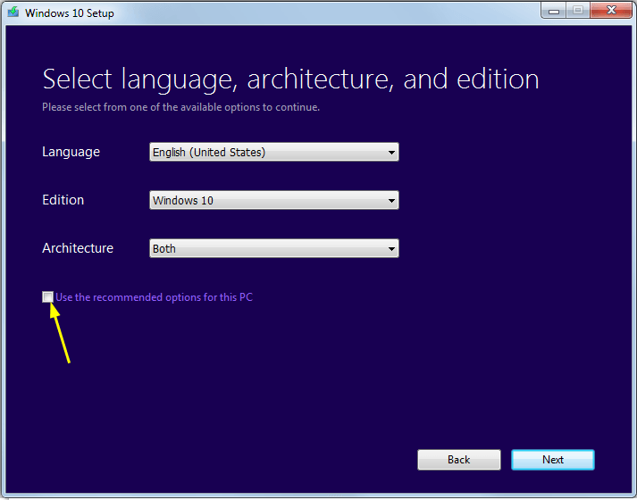 LEs option de l'ISO Windows 10
