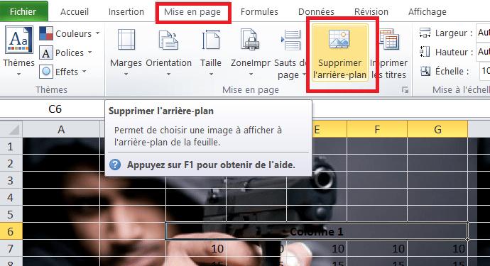 Excel supprimer arriére plan