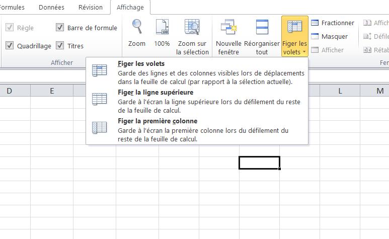 Excel, figer les cellules