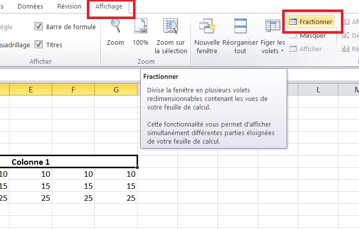 Excel fractionner l'écran
