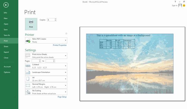 Imprimer feuil Excel avec arriére plan