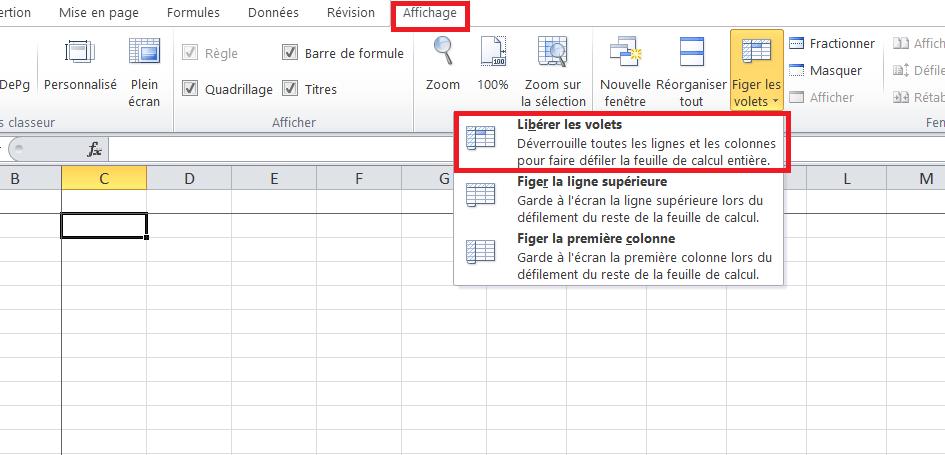 Excel, libérer les volets