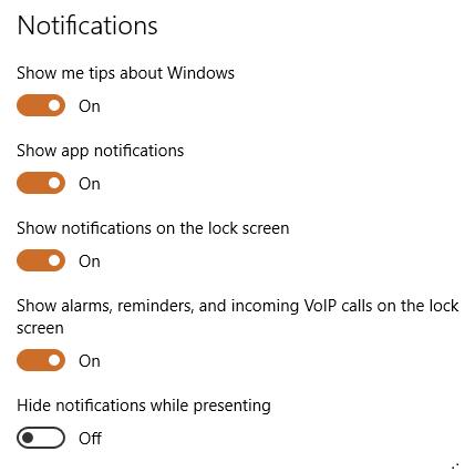 Notofocations Windows 10