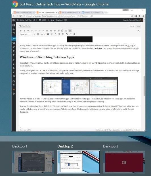 Basculer entre les applications dans Windows 10