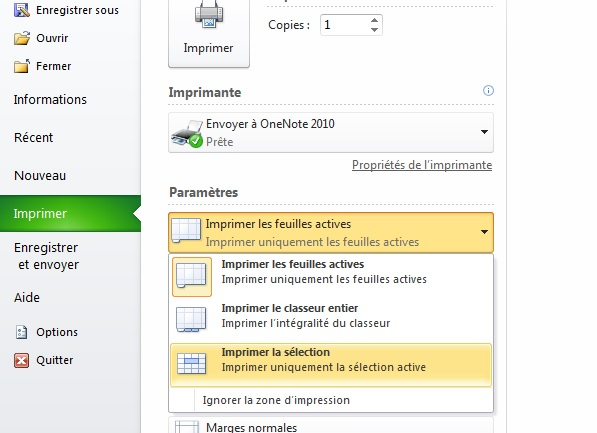 Excel, imprimer la sélection