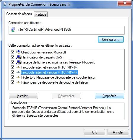 Modifier paramètres adresse IP