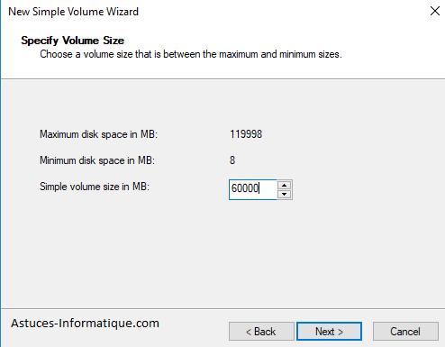 Formatage simple volume