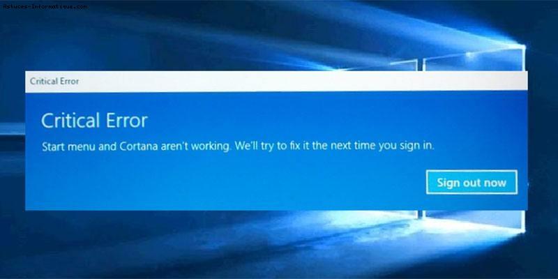 Problème menu démarrer dans Windows 10