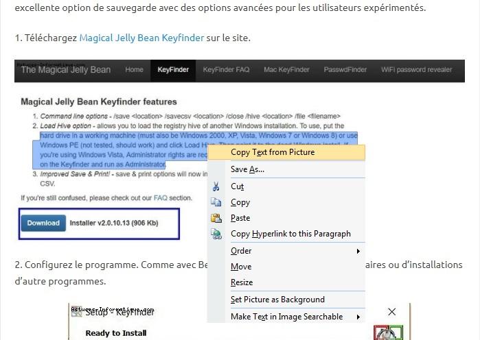 Utiliser OneNote pour copier texte a partir des images