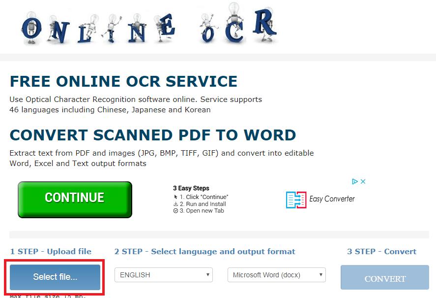 Utilisation du site Web OCR en ligne