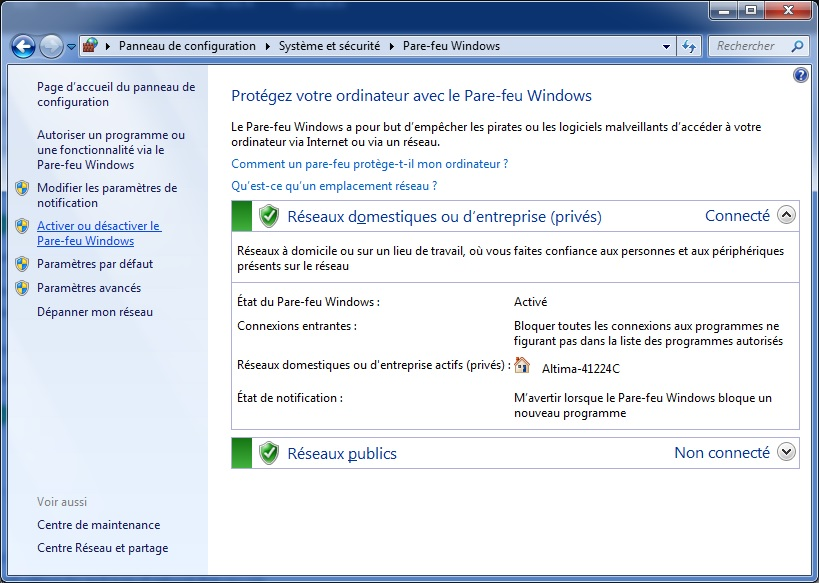 Windows 10 - désactiver Firewall
