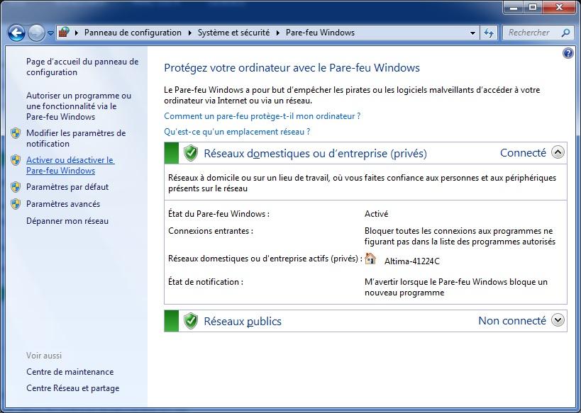 Windows 10 - désactiver Firewall