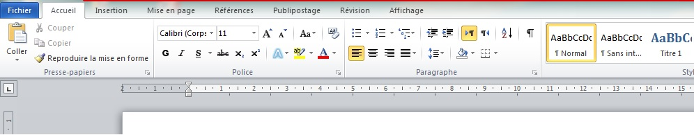 Rubban Microsoft Word