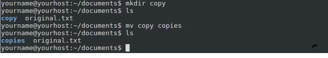 Shell mv rename directory