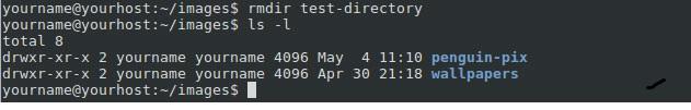 Shell rmdir test répertoire