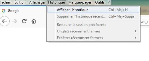 Firefox afficher historique menu