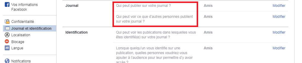 Facebook paramétrés journal