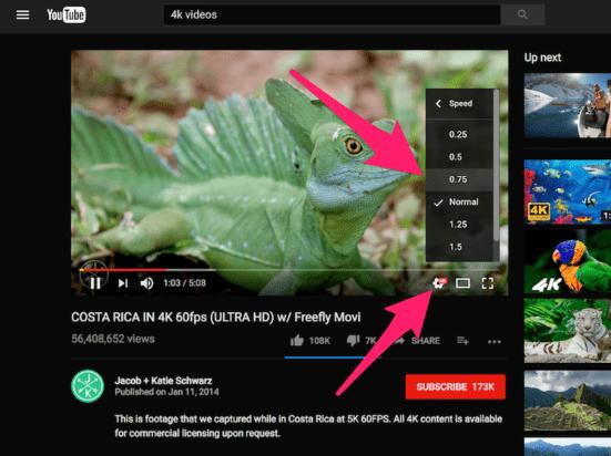 Changer vitesse dans YouTube