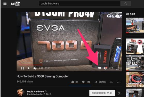 YouTube afficher légende