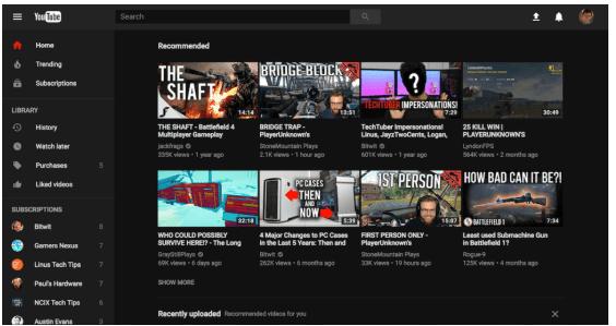 YouTube thème sombre