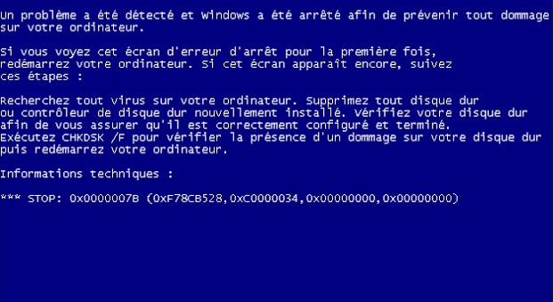 Erreur écran bleu dans Windows