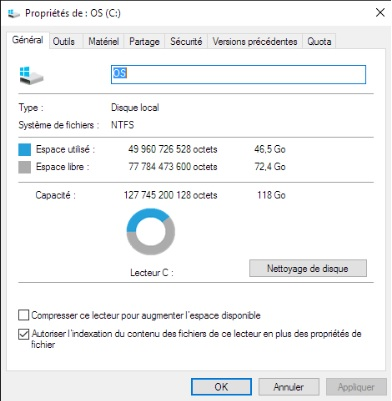 Windows 10 - nettoyer disque
