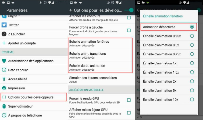 Android options développeur