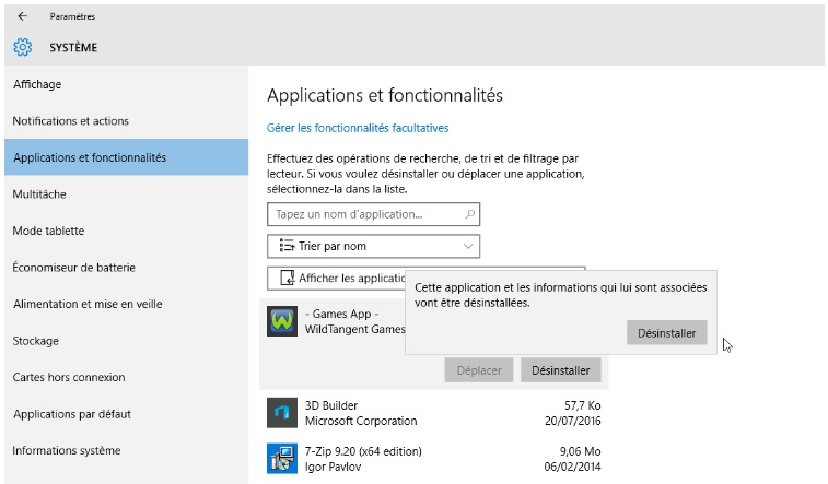 désinstaller applications inutiles dans Windows 10