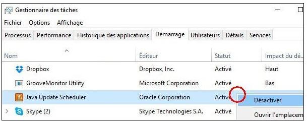 Windows- 10 - désactiver programmes démarrages