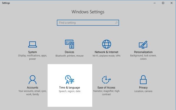 Windows 10 - heure et langage