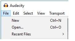 Audacity - ouvrir nouveau fichier
