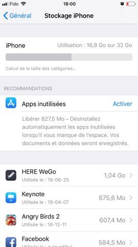 espace de stockage paramètres - iPhone