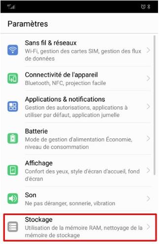 Paramètres de stockage dans Android