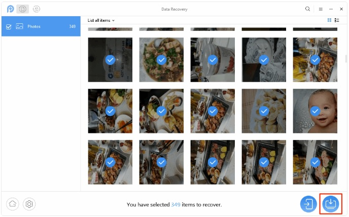 Android - récupérer photos supprimés - étape 3