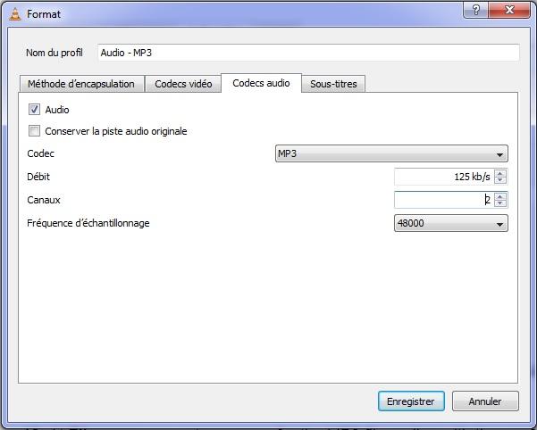 paramètres de codage des paramètres dans vlc media player