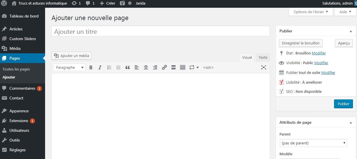 WordPress - ajouter nouvelle page