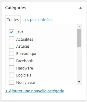 WordPress - attacher un article à une catégorie