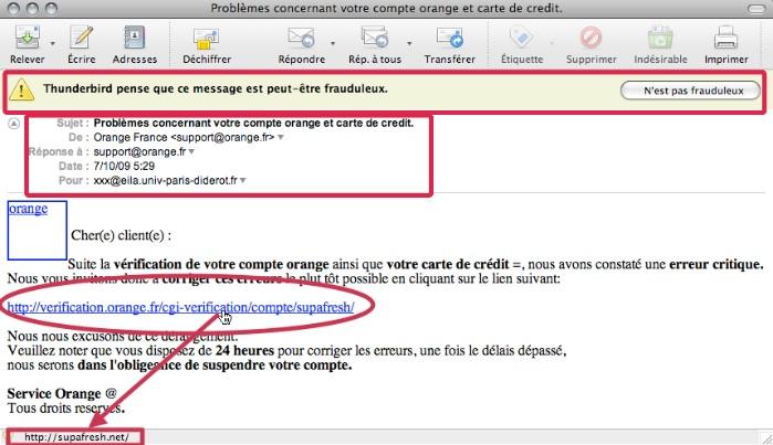 Exemple d'email d'hameçonnage (phishing)