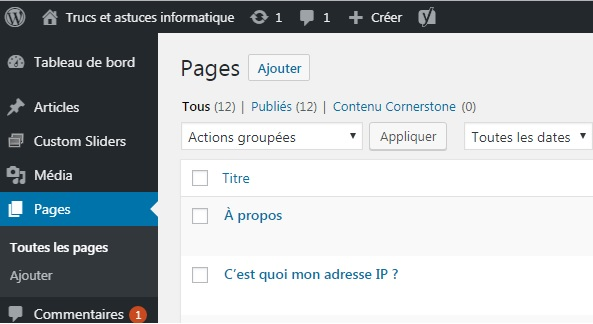 WordPress - ajouter page