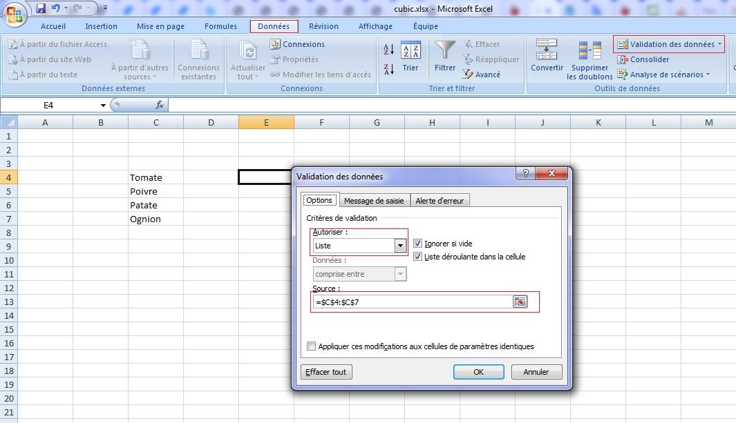 Excel validation des données et menu déroulante